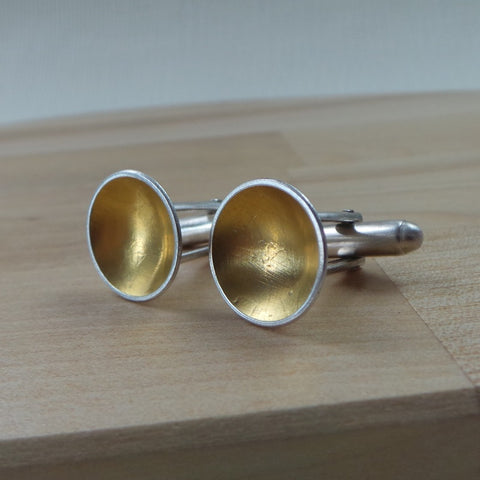 silver and 24k gold keum boo cufflinks at Joanne Tinley Jewellery
