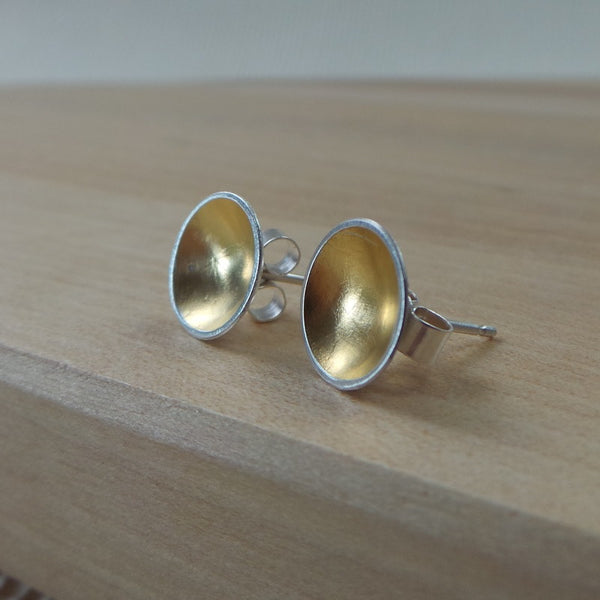 silver and 24k gold keum boo stud earrings at Joanne Tinley Jewellery