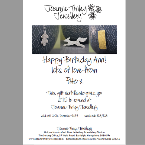 gift certificates available at Joanne Tinley Jewellery