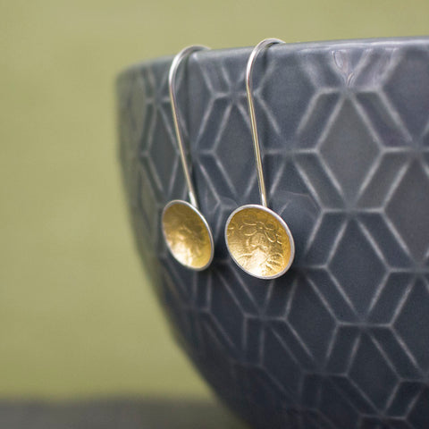 silver gold keum boo flower earring at Joanne Tinley Jewellery