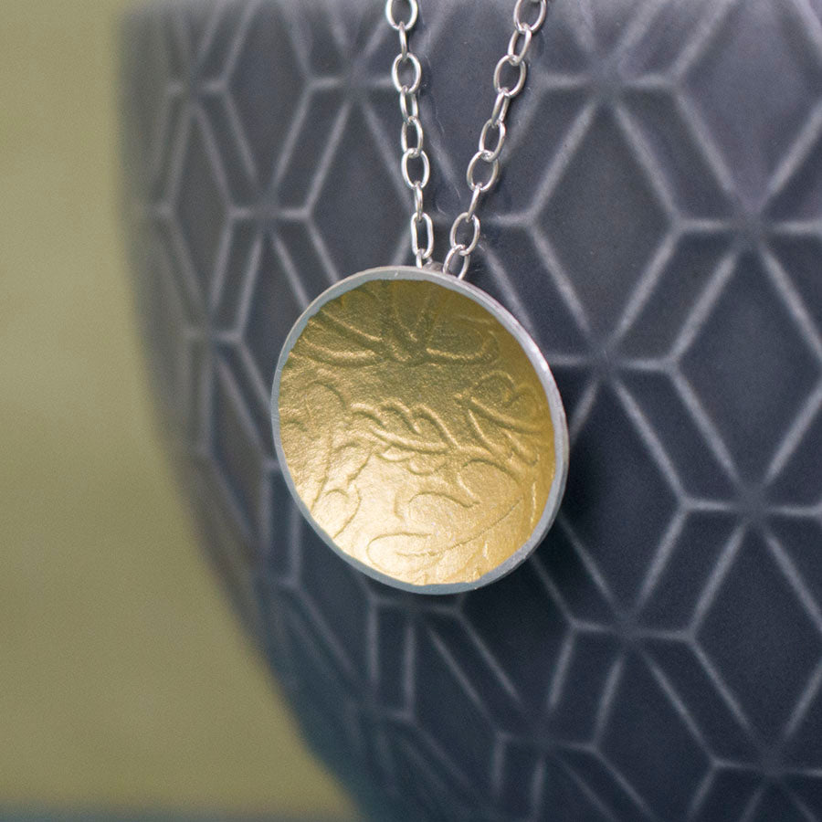 silver gold keum boo oak pendant at Joanne Tinley Jewellery