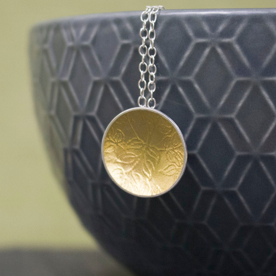 silver gold keum boo leaf pendant at Joanne Tinley Jewellery