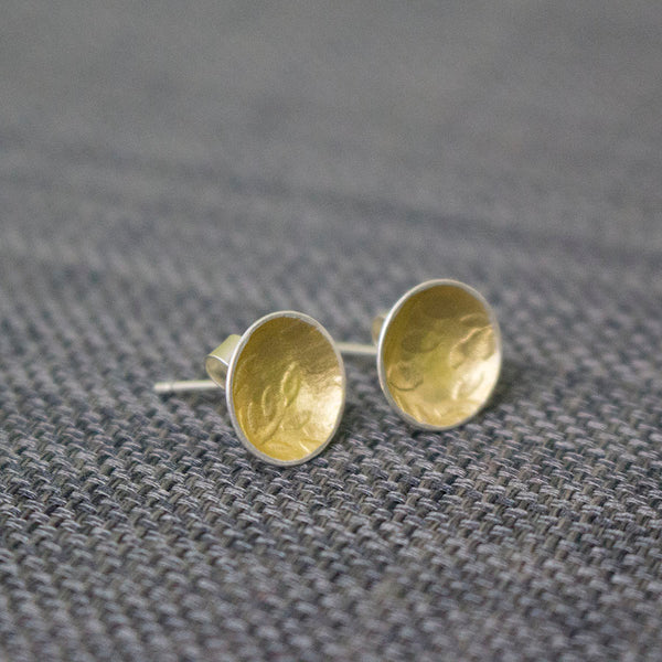 silver gold keum boo leaf earring at Joanne Tinley Jewellery