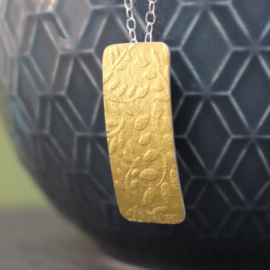 24k & silver rectangular pendant from Joanne Tinley Jewellery