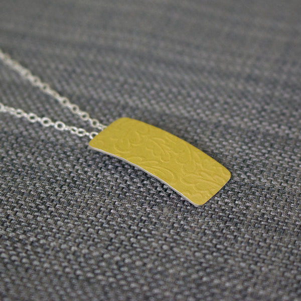 24k keum boo silver rectangular oak pendant from Joanne Tinley Jewellery