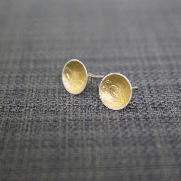Golden Watercolour Flora Cup Stud Earrings - Wholesale