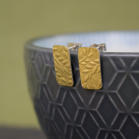 Golden Watercolour Leaf Tag Stud Earrings - Wholesale