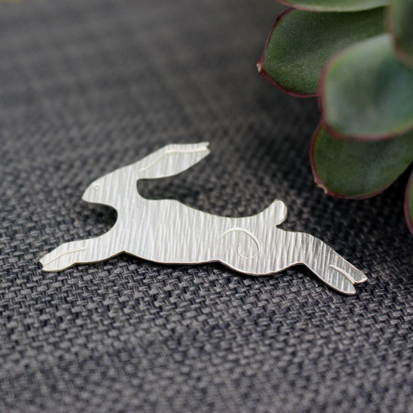 sterling silver hare brooch at Joanne Tinley Jewellery
