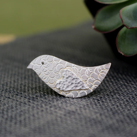 sterling silver lovebird brooch at Joanne Tinley Jewellery