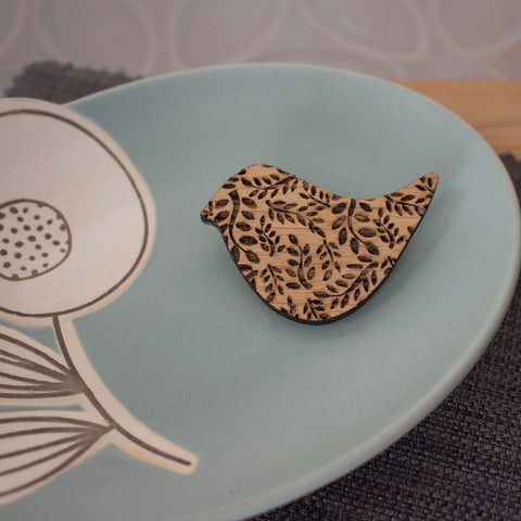 oak songbird brooch by Joanne Tinley Jewellery