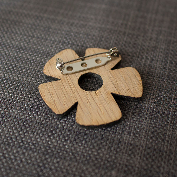 oak daisy brooch by Joanne Tinley Jewellery