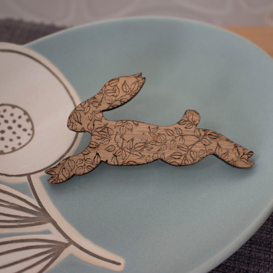 oak hare brooch by Joanne Tinley Jewellery