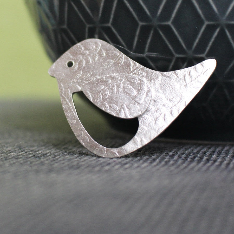 sterling silver bird and leaf brooch at Joanne Tinley Jewellery