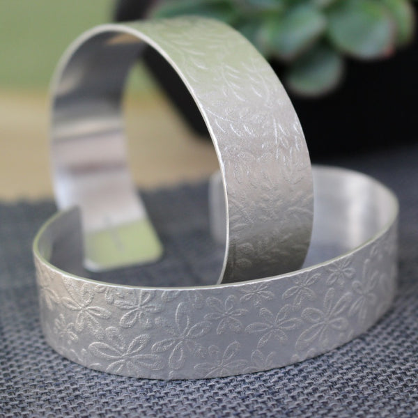 sterling silver flower cuff at Joanne Tinley Jewellery
