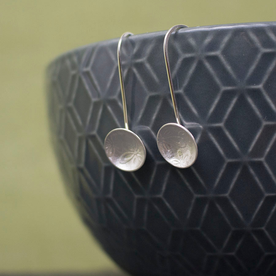 sterling silver flower disc earring at Joanne Tinley Jewellery