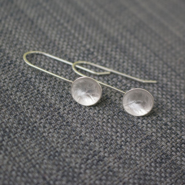 sterling silver leaf disc earring at Joanne Tinley Jewellery
