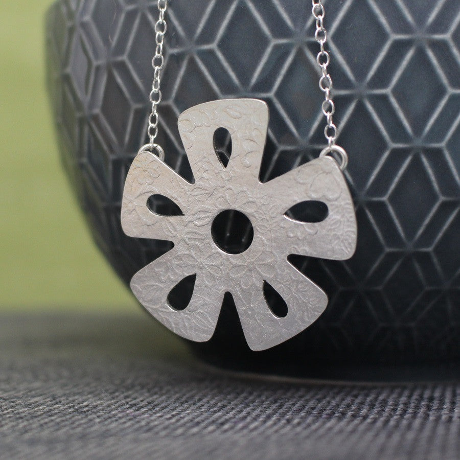 sterling silver flower pendant at Joanne Tinley Jewellery
