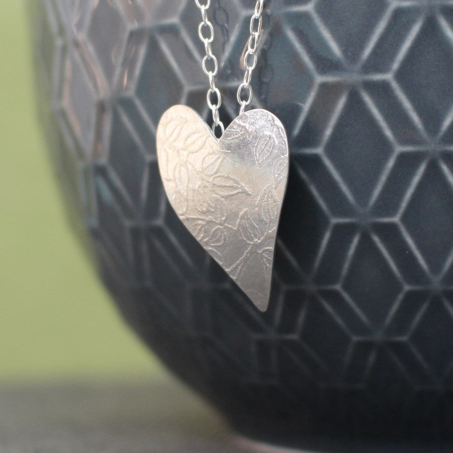 sterling silver leaf heart pendant at Joanne Tinley Jewellery