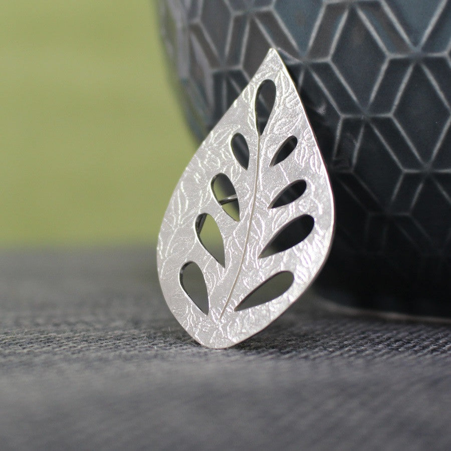 sterling silver leaf brooch at Joanne Tinley Jewellery