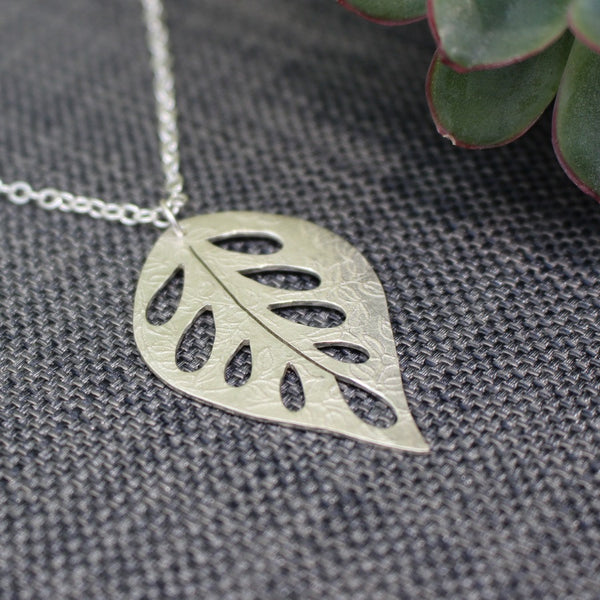 sterling silver leaf pendant at Joanne Tinley Jewellery