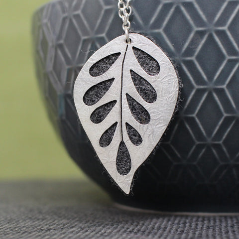 Watercolour & Wool Leaf Pendant