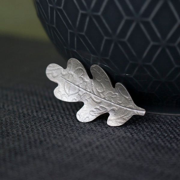 sterling silver oak leaf brooch at Joanne Tinley Jewellery