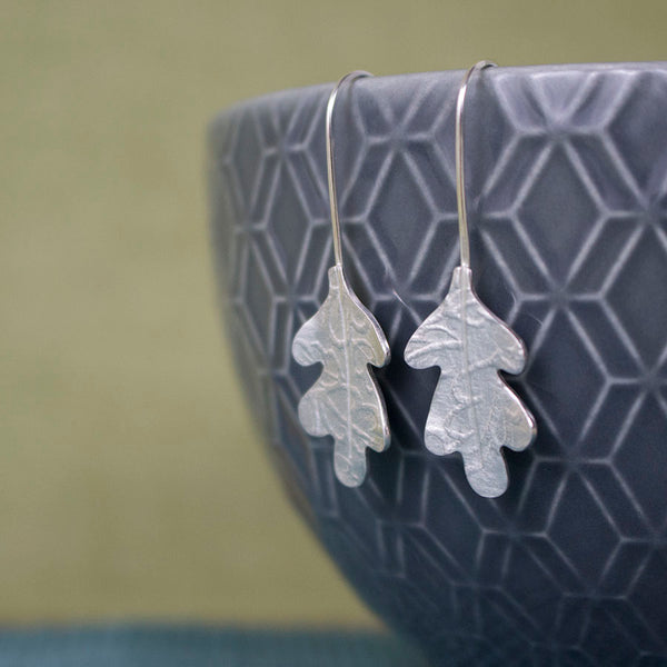 silver oak earrings from Joanne Tinley Jewellery