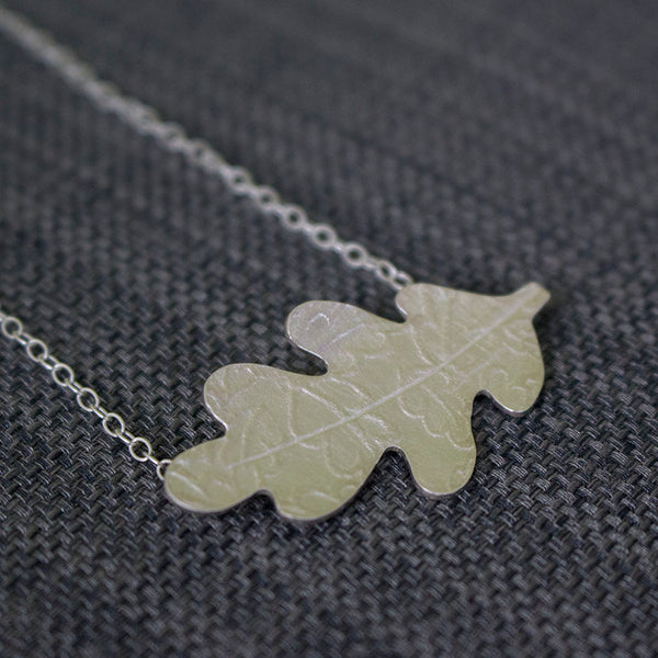 sterling silver oak leaf necklace from Joanne Tinley Jewellery