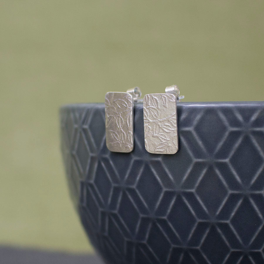 sterling silver leaf earrings at Joanne Tinley Jewellery