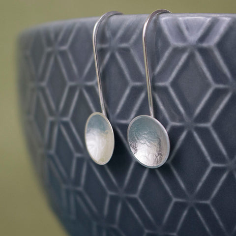 sterling silver oak disc earring at Joanne Tinley Jewellery