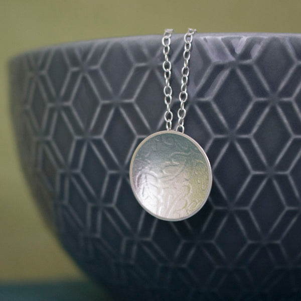sterling silver oak disc pendant at Joanne Tinley Jewellery