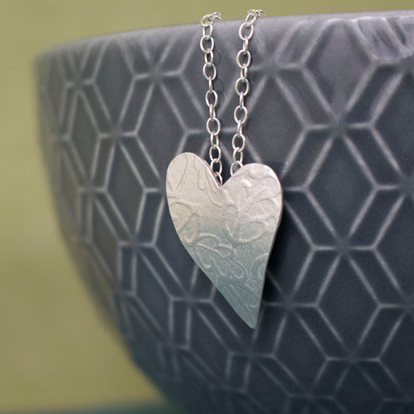 sterling silver oak heart pendant at Joanne Tinley Jewellery