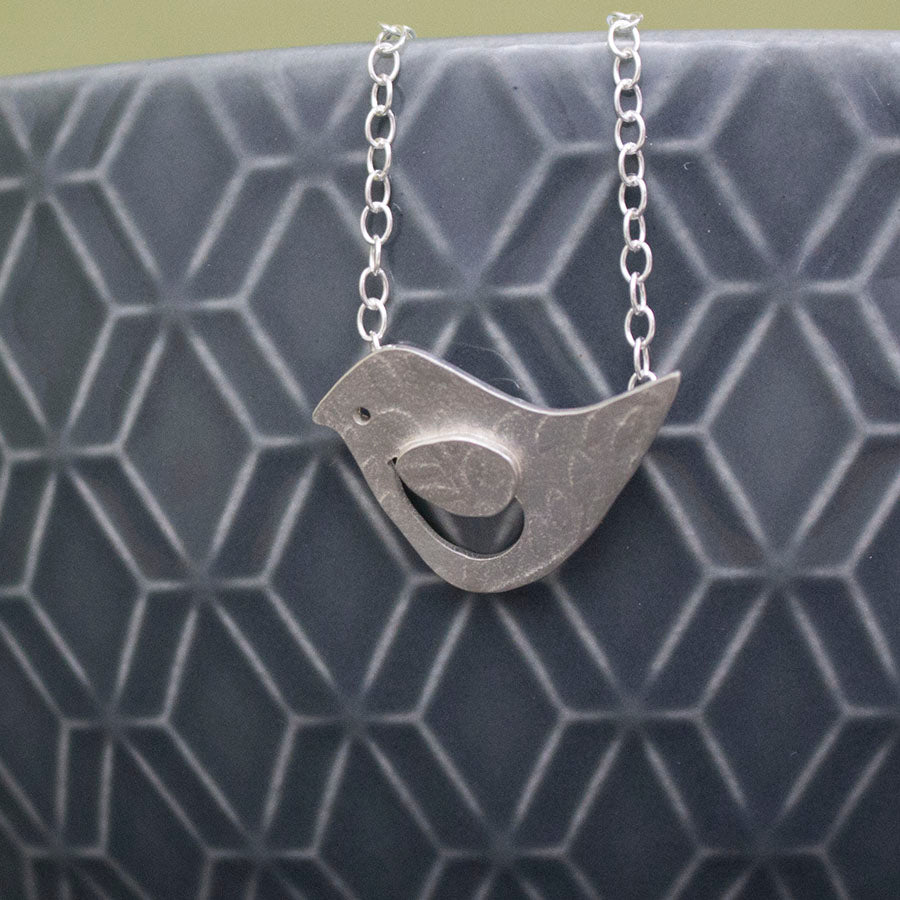 silver songbird lovebird bird necklace from Joanne Tinley Jewellery