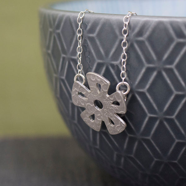 silver daisy flower necklace from Joanne Tinley Jewellery