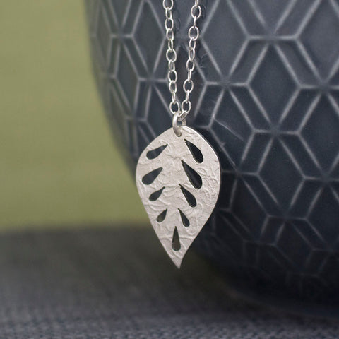 silver leaf pendant necklace from Joanne Tinley Jewellery