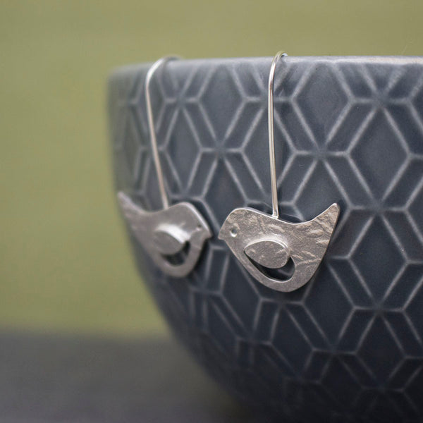 silver songbird lovebird bird earrings from Joanne Tinley Jewellery