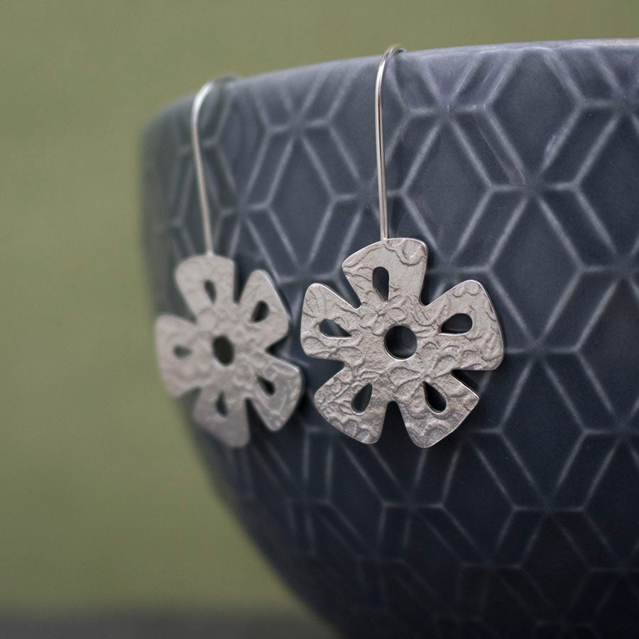 silver daisy flower earrings from Joanne Tinley Jewellery