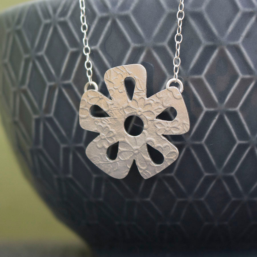 sterling silver daisy necklace at Joanne Tinley Jewellery