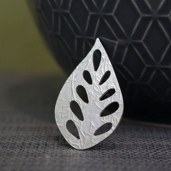 sterling silver leaf pin at Joanne Tinley Jewellery