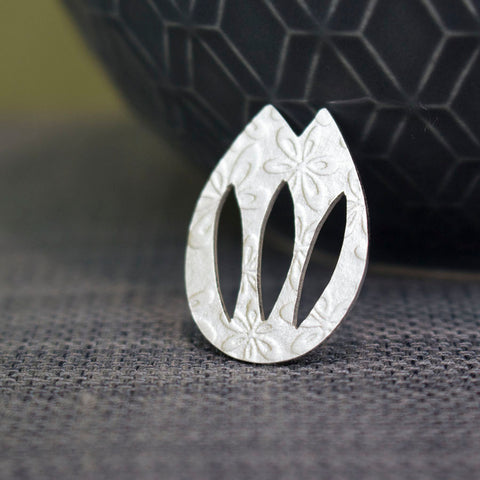 sterling silver tulip pin at Joanne Tinley Jewellery