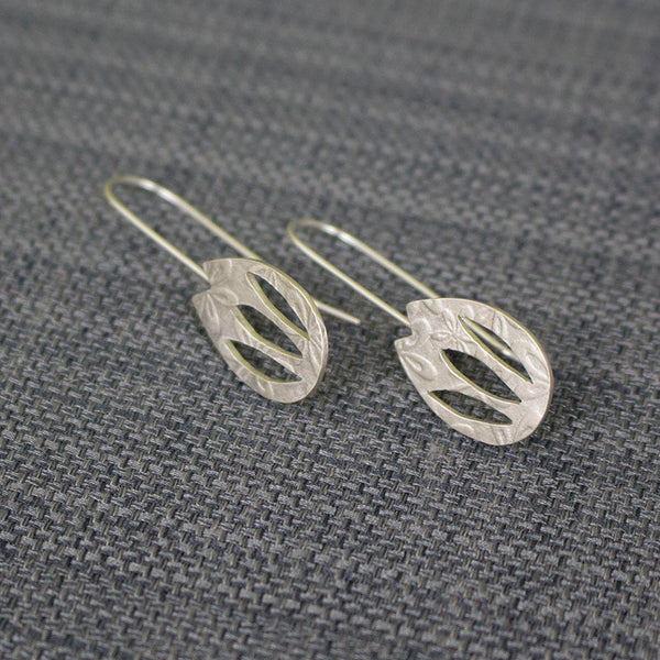 silver tulip flower earrings from Joanne Tinley Jewellery