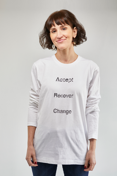 ADDICTIONS II:  Accept, Recover, Change - Back Version Printed Long Sleeve Fitted Crew