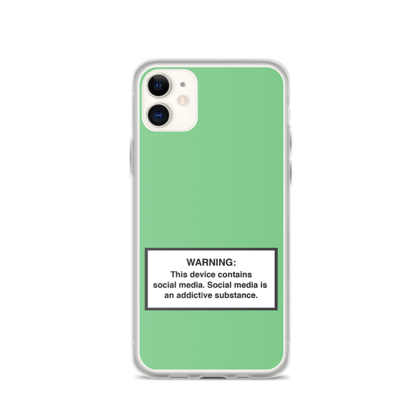 iPhone Social Media Warning Symbol Case 2020 - Seafoam Green (All iPhone models from iPhone 7 up to iPhone 12)