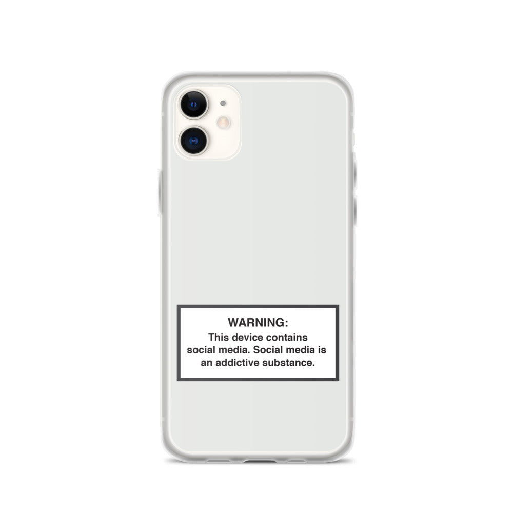 iPhone Social Media Warning Symbol Case 2020 - Iced Cube Silver Colorway (All iPhone models from iPhone 7 up to iPhone 12)