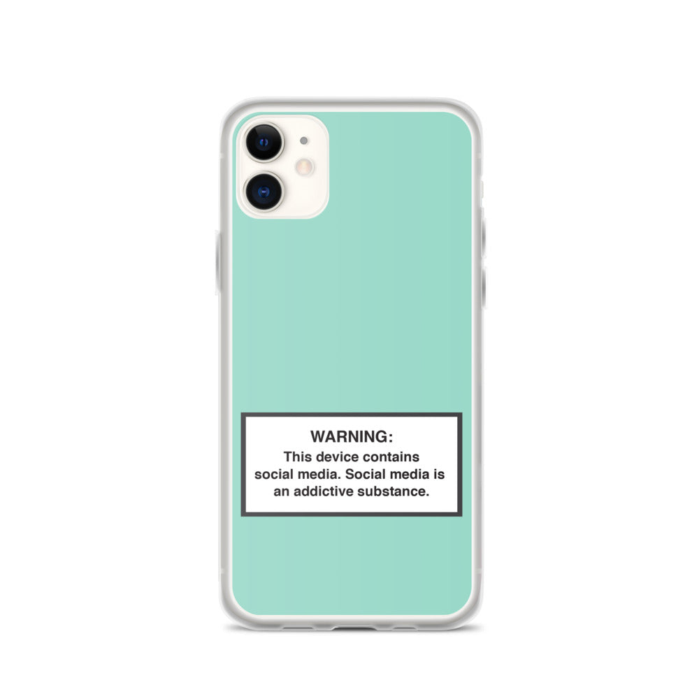 iPhone Social Media Warning Symbol Case 2020 - Sky Blue (All iPhone models from iPhone 7 up to iPhone 12)