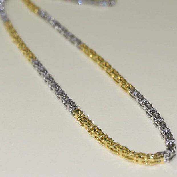 2 Tone Silver Cage Chain with CZ Stones 105g 36inch - SD JEWELS
