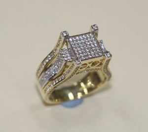 9 CT Gold Ring Mens Unique Design with VVS Stones - SD JEWELS