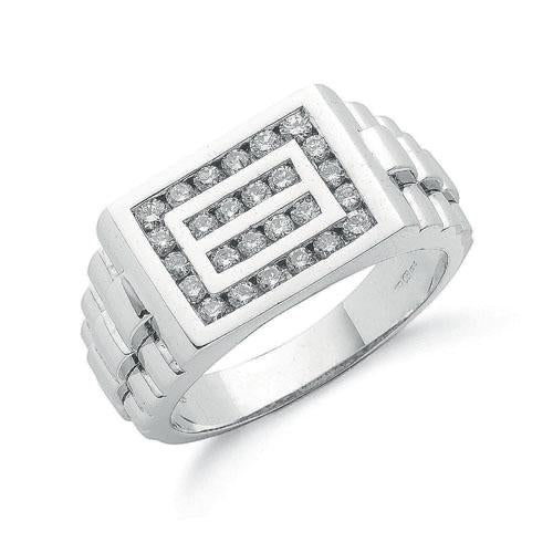 9ct White Gold 0.66ct Gents Diamond Ring - SD JEWELS