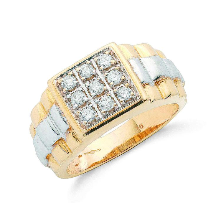 9ct Yellow Gold with 0.50ct 9 Stone Gents Diamond Ring - SD JEWELS