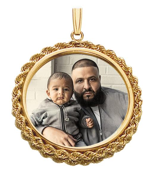 Custom 14k Gold Rope Frame Picture Circle Medallion Pendant - SD JEWELS